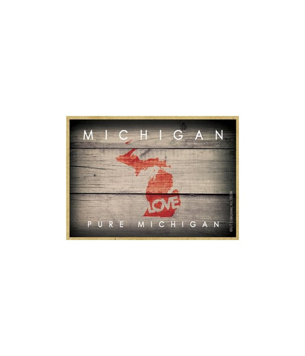 """MICHIGAN - State Outline with """"Love"""" and"""