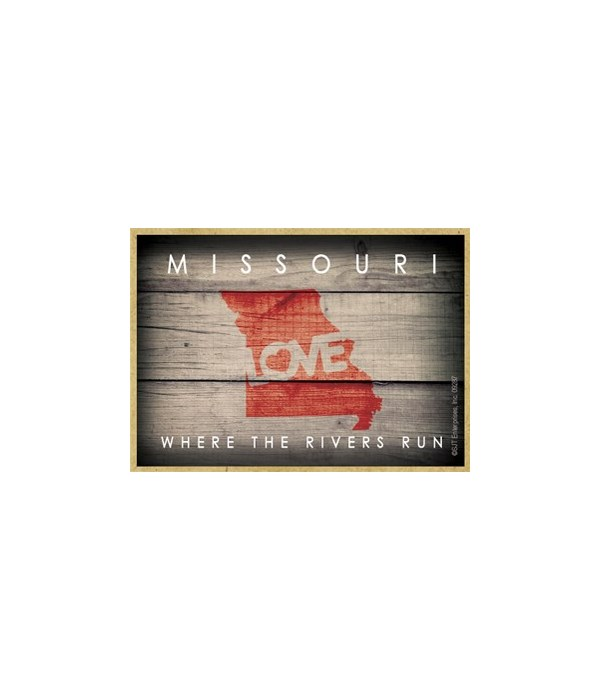 """MISSOURI - State Outline with """"Love"""" and"""