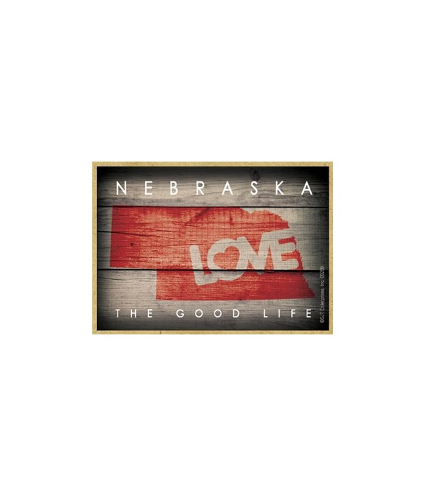 """NEBRASKA - State Outline with """"Love"""" and"""