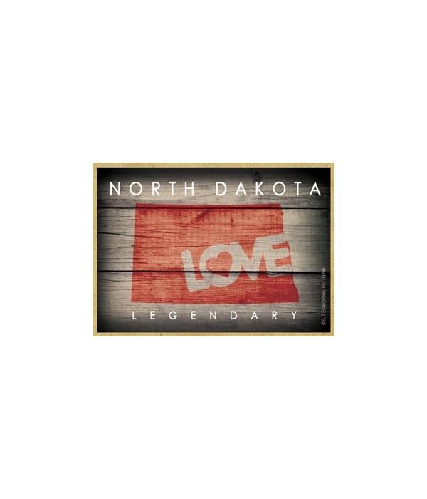 "NORTH DAKOTA - State Outline with ""Love"""