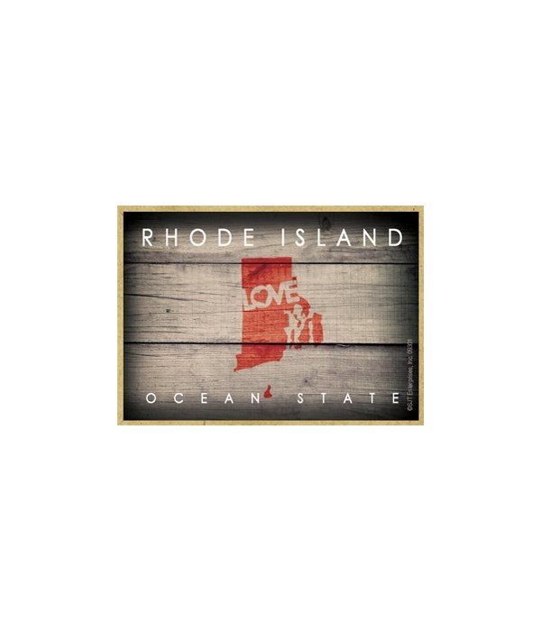 """RHODE ISLAND - State Outline with """"Love"""""""