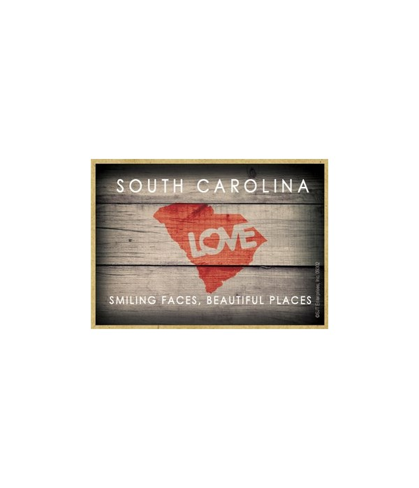 "SOUTH CAROLINA - State Outline with ""Lov"