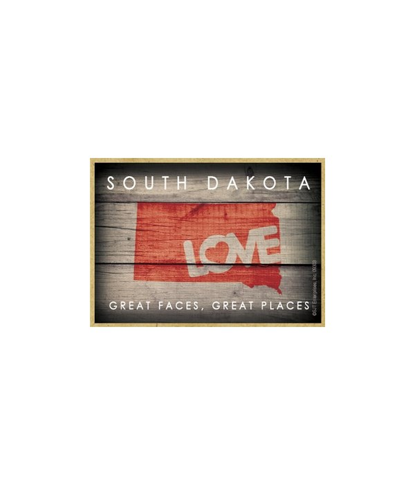 """SOUTH DAKOTA - State Outline with """"Love"""""""