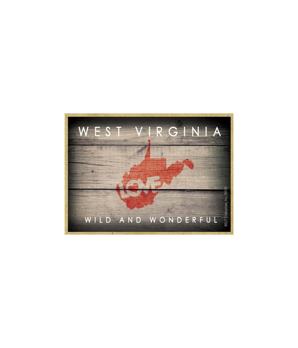 """WEST VIRGINIA - State Outline with """"Love"""