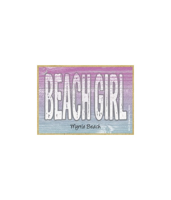 Beach Girl - Pink and Blue Background Ma