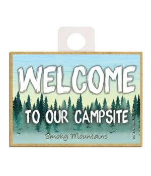Welcome to our Campsite - forest bkgd Ma