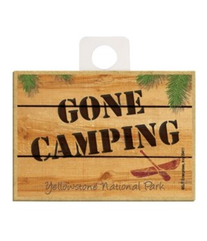 GONE CAMPING - wood sign Magnet