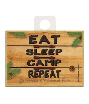 Eat, Sleep, Camp - Repeat - wood sign Ma