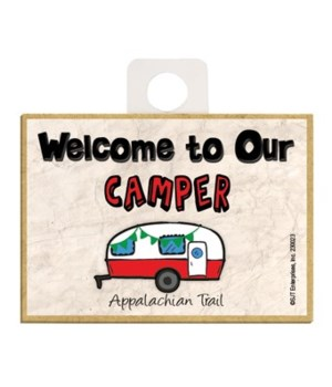 Welcome to our Camper - red and white 2