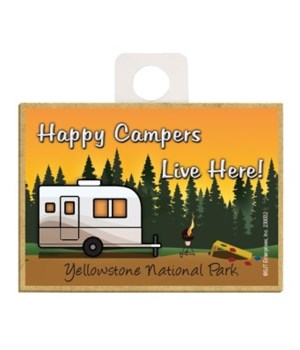 Happy Campers Live Here! - Tan and white