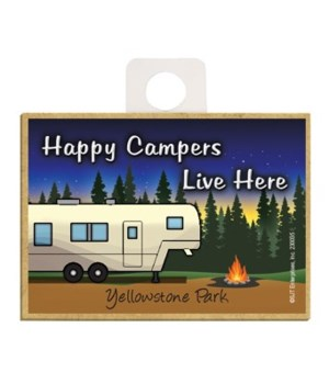 Happy Campers Live Here - Tan camping tr