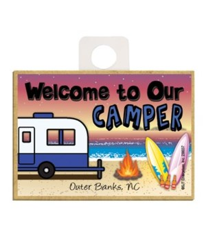 Welcome to our Camper - Blue and white 2