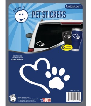 Heart and Paw Car Stickers