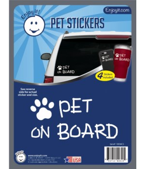Pet on Board and Paw Car Stickers