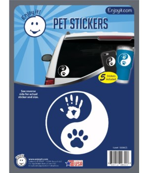 Yin Yang Hand and Paw Car Stickers