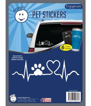 Heart Beat with Paw Car Stickers