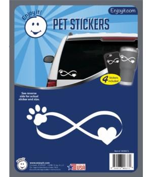 Infinity Symbol with Pet Paw Car Sticker