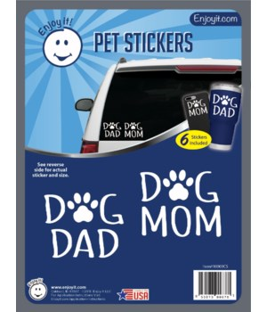 Dog Mom and Dad with Paw Car Stickers