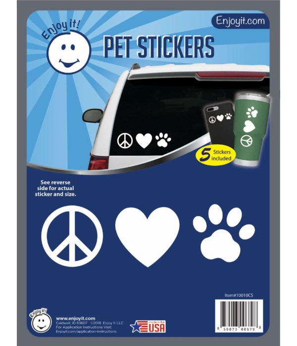 Peace, Heart and Paw Car Stickers
