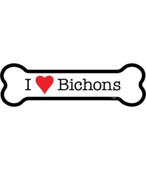 I (heart) Bichons bone magnet