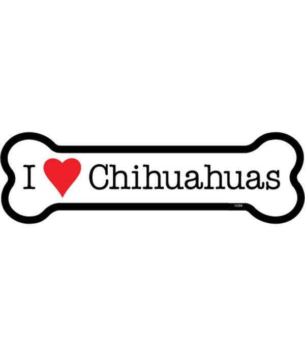 I (heart) Chihuahuas bone magnet