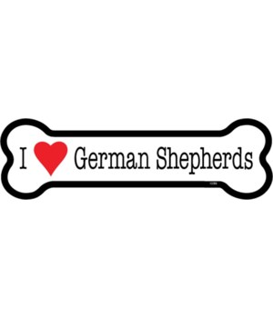 I (heart) German Shepherds bone magnet