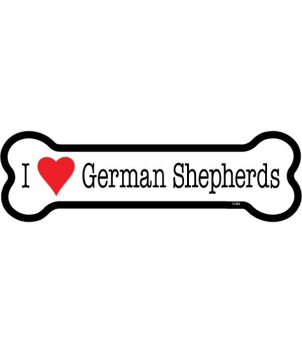 I (heart) German Shepherds bone magnet