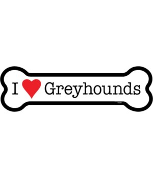 I (heart) Greyhounds bone magnet