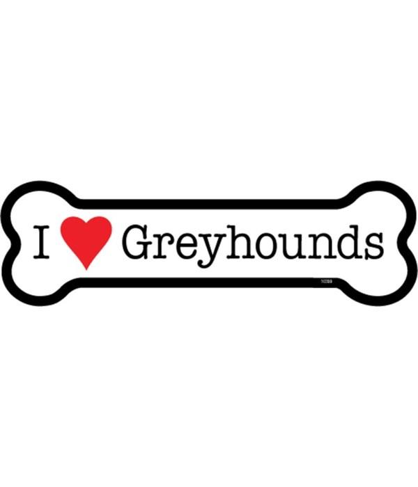 I (heart) Greyhounds bone magnet