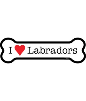 I (heart) Labradors bone magnet