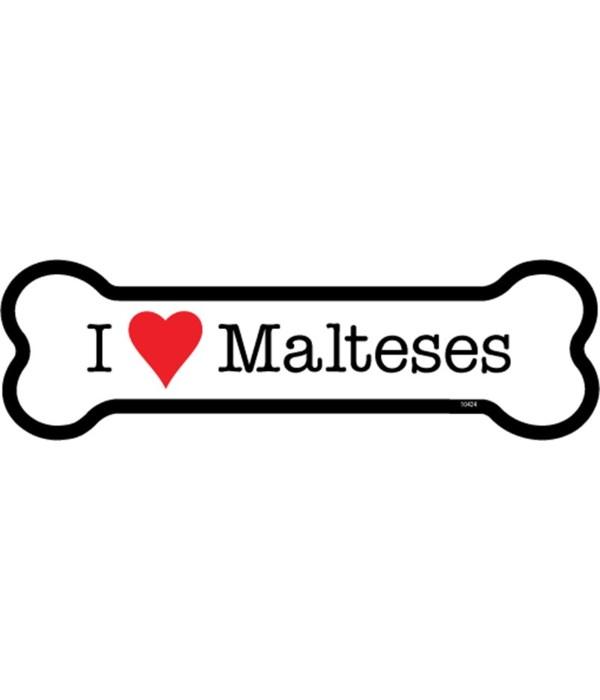I (heart) Malteses bone magnet