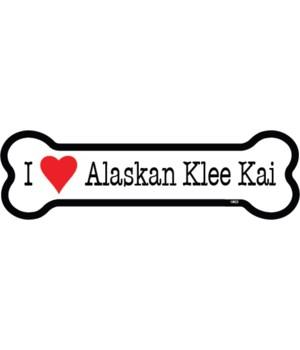I (heart) Alaskan Klee Kai  bone magnet