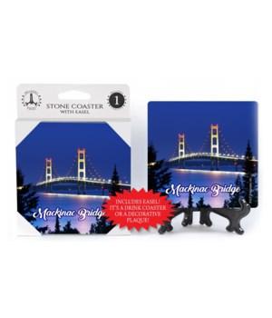 """4"""" Mackinac Bridge Night Coaster w/easel"""
