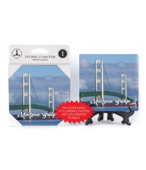 "4"" Mackinac Bridge Day Coaster w/easel"