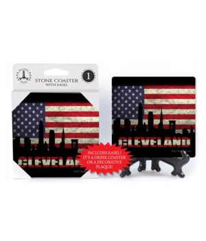 Cleveland coaster - American flag behind