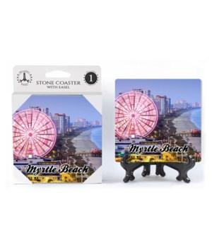Myrtle Beach coaster - pink ferris wheel