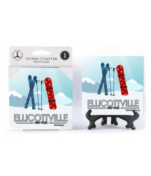 Ellicottville, New York - Graphic of ski