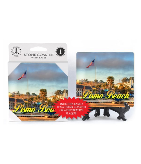 Pismo Beach - American flag on shoreline