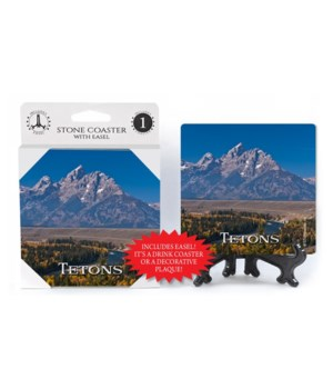 Tetons - Mountain w/river and forest in
