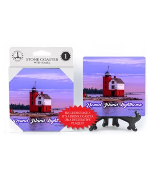 Round Island Lighthouse Coaster w/ easel