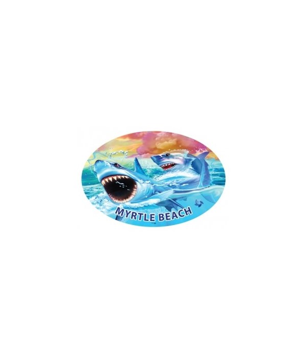 Sharks (2) - Michael Searle oval magnet