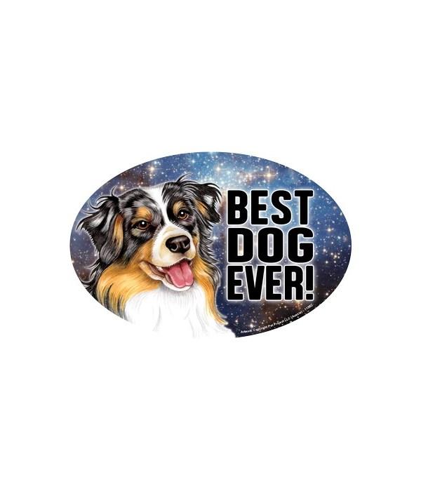 """Aussie (Best Dog Ever!) 6"""" Oval Magnet"""