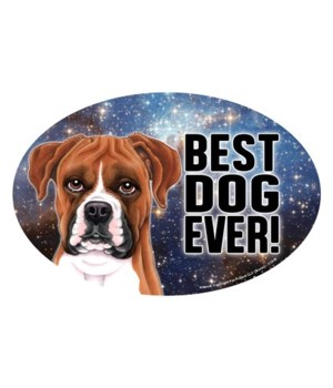 """Boxer (Best Dog Ever!) 6"""" Oval Magnet"""