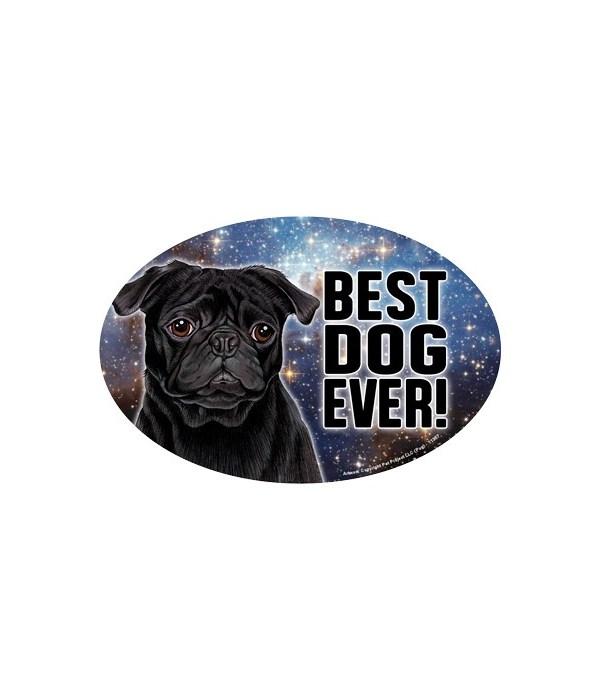 """Pug (black) (Best Dog Ever!) 6"""" Oval Mag"""