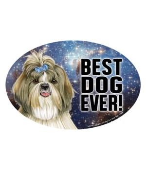 """Shih Tzu (Best Dog Ever!) 6"""" Oval Magnet"""
