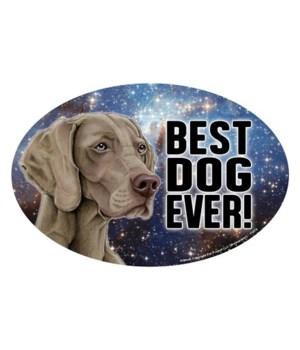 """Weimaraner (Best Dog Ever!) 6"""" Oval Magn"""