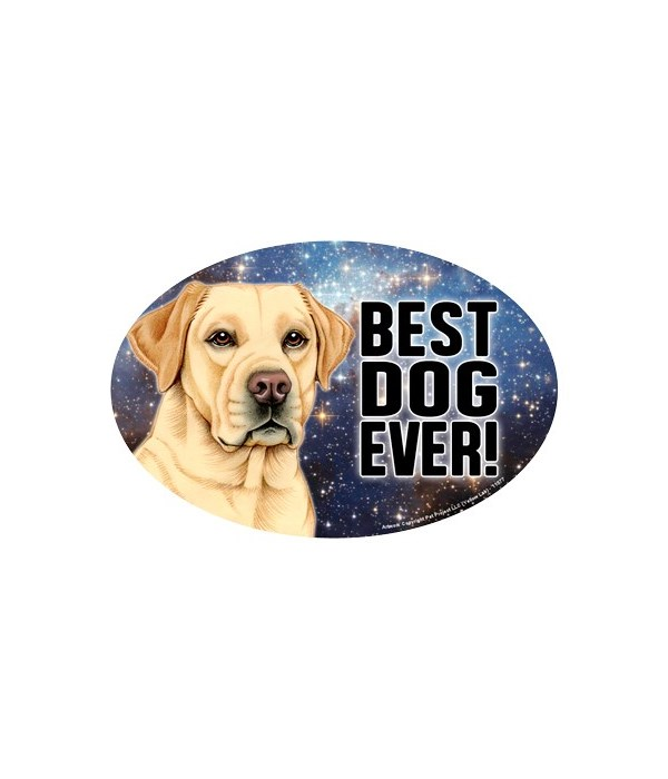 """Yellow Lab (Best Dog Ever!) 6"""" Oval Magn"""