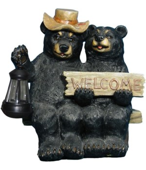 "Bear w/ solar light 15""T"