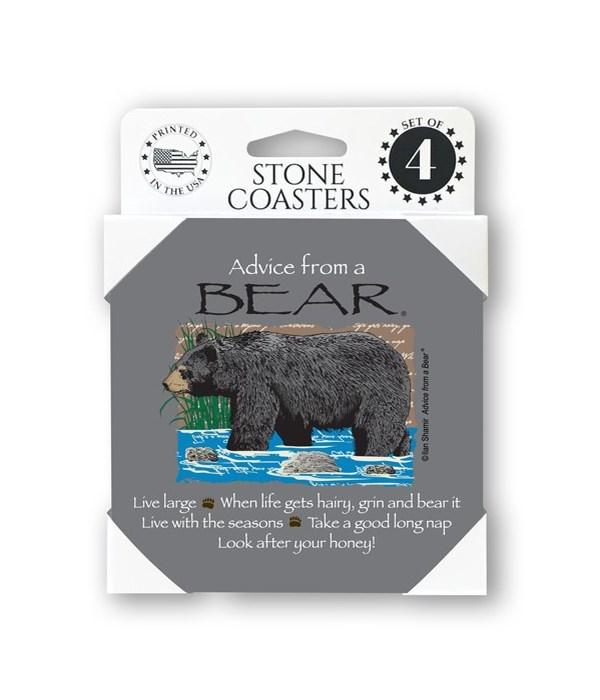 Advice from a Bear  coaster 4-pack