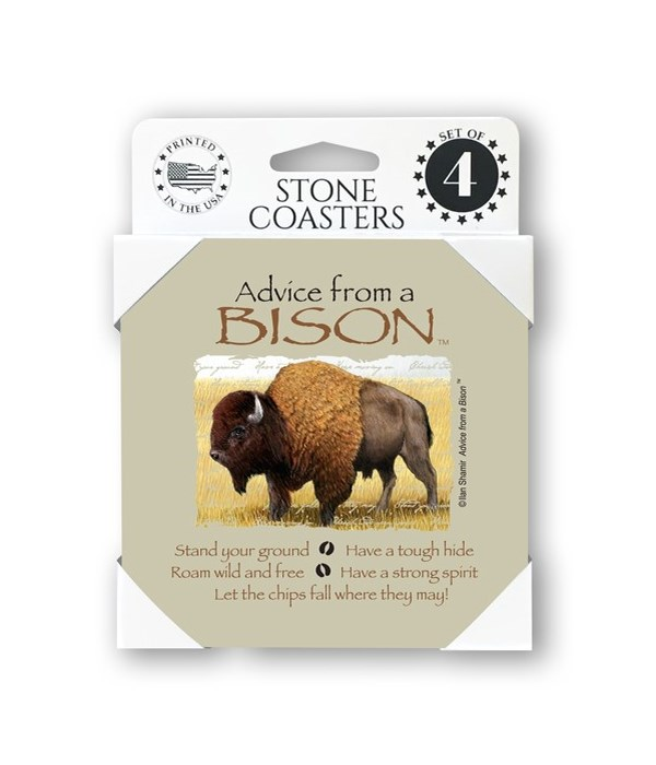 Advice from a Bison  coaster 4-pack